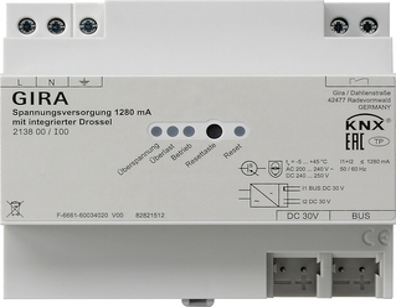 gira knx spannungsversorgung 1280 ma mit integrierter drossel. Black Bedroom Furniture Sets. Home Design Ideas